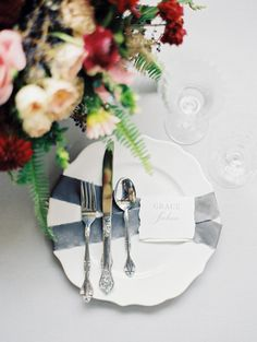 Sleek table decor: http://www.stylemepretty.com/missouri-weddings/kansas-city-mo/2017/02/03/how-to-infuse-your-tablescape-with-the-prettiest-garden-details/ Photography: Jordan Brittley - https://jordanbrittley.com/