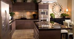 contemporary kitchen set in dark grey color white dining furniture modern kitchen appliances designed by Nicole Miller Luxury Kitchen Design, Luxury Kitchens, Interior Design Kitchen, Cool Kitchens, Interior Modern, Scandinavian Interior, Beautiful Kitchens, Interior Decorating, Decorating Ideas