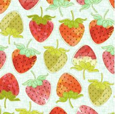 Spoonflower's Berry Good Strawberries designed by Nadia Hassan - printed on a variety of cotton fabrics - By the yard