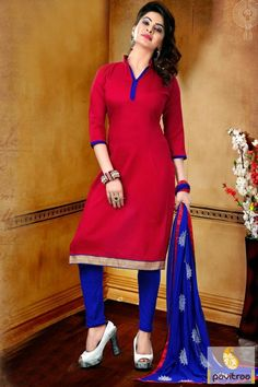 Get timeless trends with red color nazneen banarasi ethnic wear salwar suit material online shopping with discount deal. This stylish simple female salwar suit designed by embroidery and print work. #salwarsuit, #casualdress more: http://www.pavitraa.in/store/casual-dress/