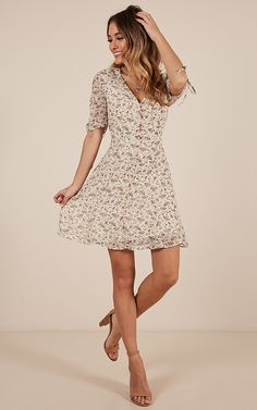 Throwing Shapes dress in white floral | Showpo