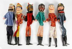 Early 20th C. French Punch and Judy Hand Puppets