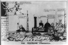 """In a race between the railroad and the telegraph the """"telegraphic candidates,"""" Lewis Cass and William O. Butler, are first to the White House. The artist ridicules Zachary Taylor for his hazy stance on major campaign issues and manages a jibe at the """"dead letter"""" affair. Henry Clay, Martin Van Buren, and a third are also in the race, traveling in a boat, on a horse, and in a wheelbarrow respectively. Taylor and his running mate Millard Fillmore ride a locomotive """"Non-Comittal. No…"""