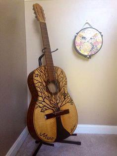 The Musical Tree painting on a vintage custom acoustic guitar with fresh new strings for a beautiful sound. Come to our shop for more playable art pieces at https://www.musicasartbysarah.etsy.com