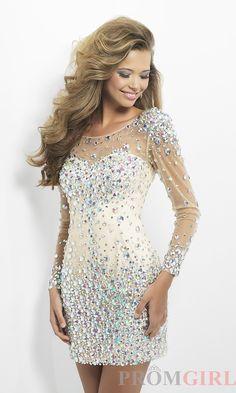 Short Beaded Dress with Long Sheer Sleeves