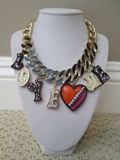 NWT Betsey Johnson 60s Mod LOVE ME Heart Letters Statement Celeb Bella Necklace #BetseyJohnson #Statement