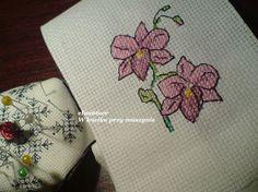 haft krzyżykowy - lilie na kartkę