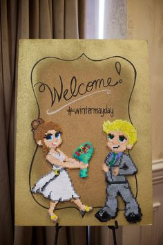 Welcome Sign - Bride and Groom in Perler beads