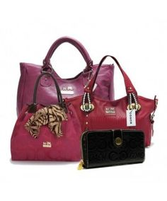 Coach Legacy Large Fuchsia Satchels ABX+Large Fuchsia Totes ATR+Medium Red Totes DFY+Black Wallets BCO