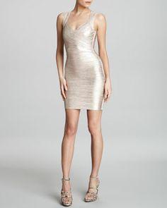 Shimmer Bandage Dress by Herve Leger
