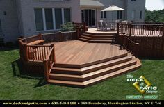 Deck built with Mahogany. @ levels, wrap around steps, mahogany rails