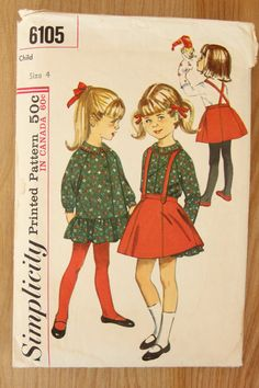 Simplicity Girls Ruffled Dress And Skirt Pattern 6105. $6.62, via Etsy.