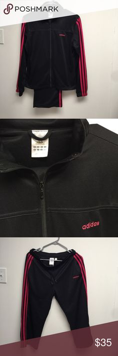 Adidas women's track suit Worn a couple times. Black & pink. Capris size medium & jacket is a small. Pants have small dots of white paint. (See pics) adidas Jackets & Coats
