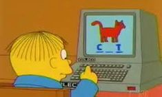 Ralph Wiggum learnding on the Coleco, alongside Super Nintendo Chalmers. Playlists, Reaction Pictures, Funny Pictures, Funny Images, The Simpsons Show, Simpsons Quotes, Simpsons Cartoon, Cartoon Quotes, Ralph Wiggum