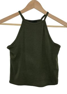 high neck ribbed crop top (olive)