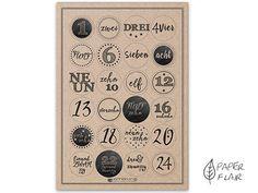 Adventskalenderzahlen - Adventskalender Zahlen Aufkleber  - ein Designerstück von Paperflair bei DaWanda