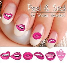 40 Lips and Kisses Smooches Nail Art Decal Sticker Set. Set of Great gift for any nail lover. The latest trend in fashion, nail decals / stickers are a great way to show off! Nail Decals, Nail Stickers, Nail Designs Spring, Nail Art Designs, Halloween Nail Art, Nail Decorations, Us Nails, Christmas Nail Art, Perfect Nails