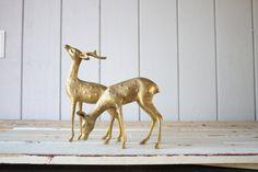 1950's Solid Brass Deer Set | foxandforage Etsy