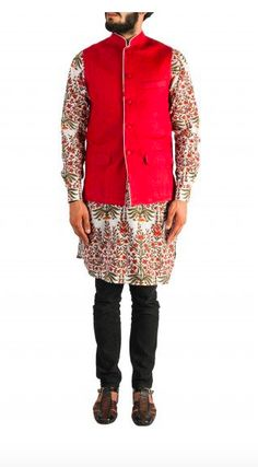 Red and White Printed Kurta with black churidar and red Nehru jacket. Nehru Jacket For Men, Nehru Jackets, Mens Ethnic Wear, Wedding Store, Churidar, Red And White, Black, Wedding Season, Shop Now
