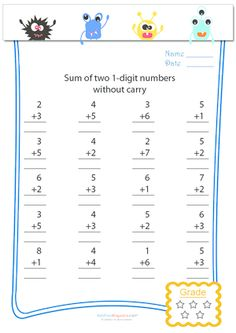 math worksheet : addition worksheets without carryover  adding 4 digit and numbers  : Carry Over Addition Worksheets