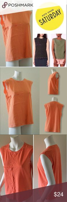 🆕 Kate Spade Saturday Deep Pocket Muscle Tee #093 Cotton jersey muscle tee. Crew neck. One pocket at front, contrast cover stitch details. Easy fit. Hits at hip. 99% cotton, 1% other fiber. Machine wash cold. Color: Peach. NWT. Kate Spade Saturday Tops Muscle Tees