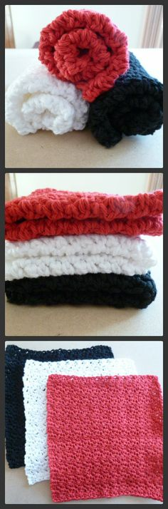 Set of 4 Red & Black Crocheted Coasters in Cotton