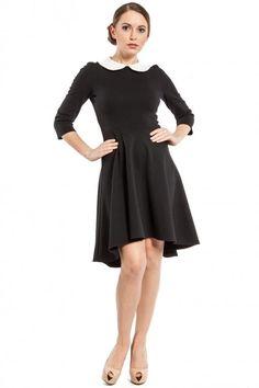 Czarna sukienka z białym kołnierzykiem 38 Vintage