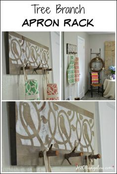 This tree branch apron rack is a creative and unique way to hang aprons or light coats on an attractive home decor piece. #organize #walldecor #homedecor