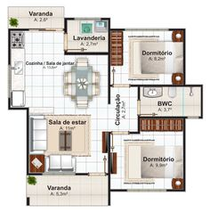 Casa de 2 Quartos com varanda frontal