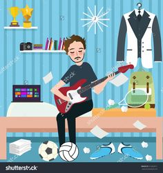 boys man room holding guitar in dorm play music