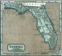 03/03/1845 - Florida becomes the 27th U.S. state.  Vintage map Florida  1845