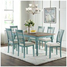 Blue Kitchen Tables, Blue Dining Tables, Natural Wood Dining Table, Painted Dining Room Table, Farmhouse Kitchen Tables, Table And Chairs, Kitchen Table Redo, Redoing Kitchen Tables, Dinning Room Paint Ideas