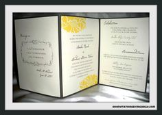 Yellow & Gray Zig Zag Wedding Invitation - Modern Vintage Country. $9.00, via Etsy.