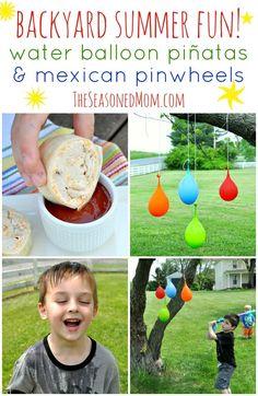Water Balloon Piñatas & Mexican Pinwheels - The Seasoned Mom Mexican Pinwheels, Balloon Pinata, Diy For Kids, Crafts For Kids, Backyard Play, Water Balloons, The Ranch, Summer Kids, Summer Activities