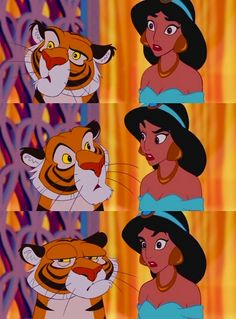 Raja and Jasmine (Aladdin). Love Jasmine's face in the first pic and Raja's in the last one!
