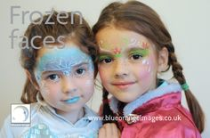 Blue Orange Images #facepainting Watford, face painted girls with #Frozen characters, with lots of lovely glitter