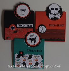 handmade Halloween Gift Card Holder Cards by Sweet Irene ...  flap fold with circles above the top technique ...