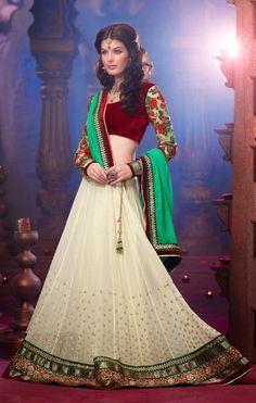 USD 133.79 White Stone Work Faux Georgette Wedding Saree 30367