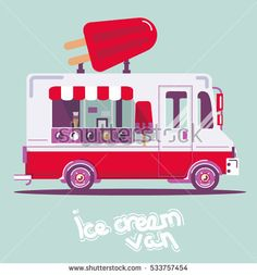 Cool vector flat van illustration. Retro vintage cute food  car picture, ice cream truck Ice Cream Van, Vintage Ice Cream, Flat Design Illustration, Digital Art Tutorial, Cute Food, Toy Store, Food Truck, Car Pictures, Art Tutorials