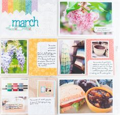 Really pretty PL page by Melissa Stinson.  Love the rainbow strips on the date card =)