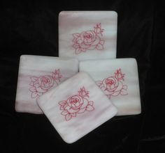 Items similar to COASTERS - Fused Glass Coasters with etched rose outline design on Etsy Fused Glass, Stained Glass, Rose Outline, Outline Designs, Glass Coasters, Anniversary Gifts, House Warming, Glass Art, Special Occasion