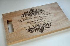 Custom Cutting Board Laser Engraved Hard Maple 8x14 Personalized Wood Cutting Board. $33.00, via Etsy.