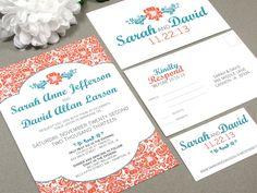 Damask Wedding Invitations Floral Pocket Fold Suite Sunflower Invites Orange and Teal Wedding Invitation DIY Printable Rustic Wedding Invite by RunkPockDesigns on Etsy https://www.etsy.com/listing/102833124/damask-wedding-invitations-floral-pocket
