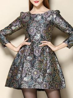 Shop Multi Floral Long Sleeve Jacquard Dress from choies.com .Free shipping Worldwide.$39.9