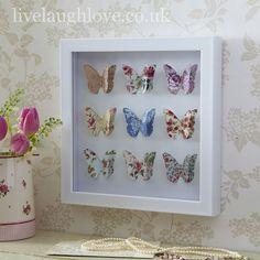 wall art, shabby chic accessories,New out this season paper art picture in white boxed glass frame. Oh so pretty & chintzy! A lovely addition to a shabby chic home and a wonderful gift Shadow Box Art, Shadow Box Frames, 3d Box Frames, Frames Ideas, Butterfly Wall Art, Paper Butterflies, Picture Frame Crafts, Box Frame Ideas Diy Crafts, Box Picture Frames