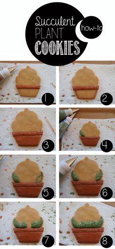 Succulent Plant Cookie~ How-To, by coeurde cookies, green (Basketball Cookies) Iced Cookies, Royal Icing Cookies, Fun Cookies, Cupcake Cookies, Sugar Cookies, Decorated Cookies, Diy Cookie Cutter, Succulent Cupcakes, Biscuits