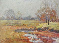 William J. Forsyth (IN, 1854-1935), oil on board, depicting Irvington river bend in autumn #wickliffauction #shopauction #indianaartist