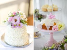 simple wedding cakes made beautiful with pastel coloured blooms