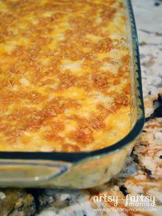 Cheesy Potato Casserole (Funeral Potatoes) at artsyfartsymama.com #Easterrecipes #easyrecipe #Utah