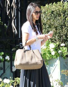 25f95bd6753a Jordana Brewster with another Hermes Garden Party Tote - This time in  Etoupe Hermes Birkin